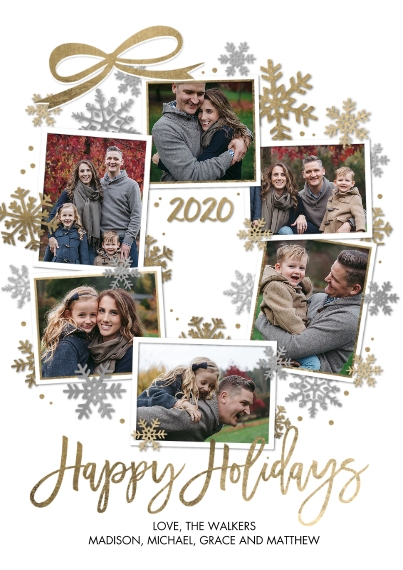 Holiday Photo Cards 5x7 Cards, Premium Cardstock 120lb with Elegant Corners, Card & Stationery -Holiday 2020 Snapshots Wreath by Tumbalina