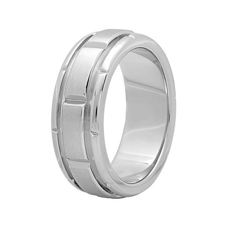 Mens 8mm Comfort Fit Stainless Steel Brick Pattern Wedding Band, 8 1/2 , No Color Family