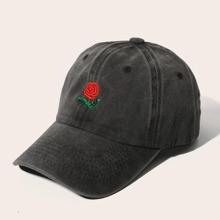 Men Rose Embroidered Baseball Cap