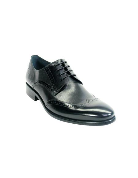 Mens Fashion Shoes by Carrucci - Lace-Up Black