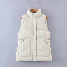 Pocket Side Vest Puffer Coat