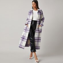 Pocket Front Raglan Sleeve Plaid Overcoat