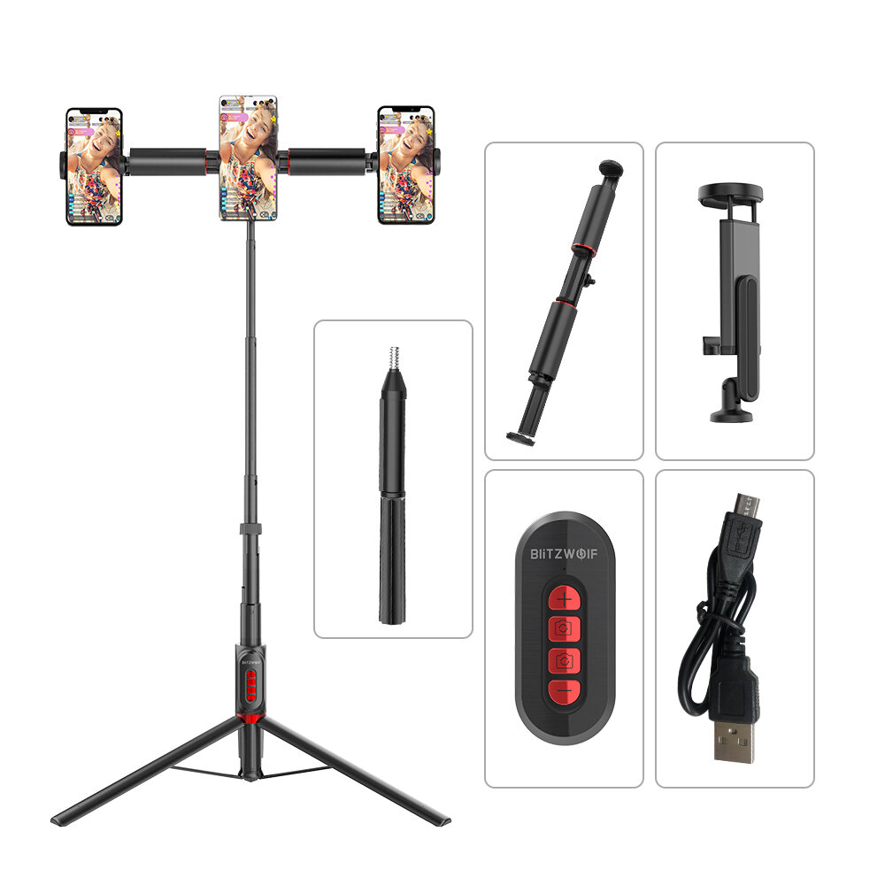 BlitzWolf® BW-BS11 All In One bluetooth Remote Live Light Tripod Multifunctional Selfie Stick for YouTube Tiktok Makeup