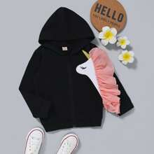 Toddler Girls Unicorn Print Ruffle Trim Hooded Jacket