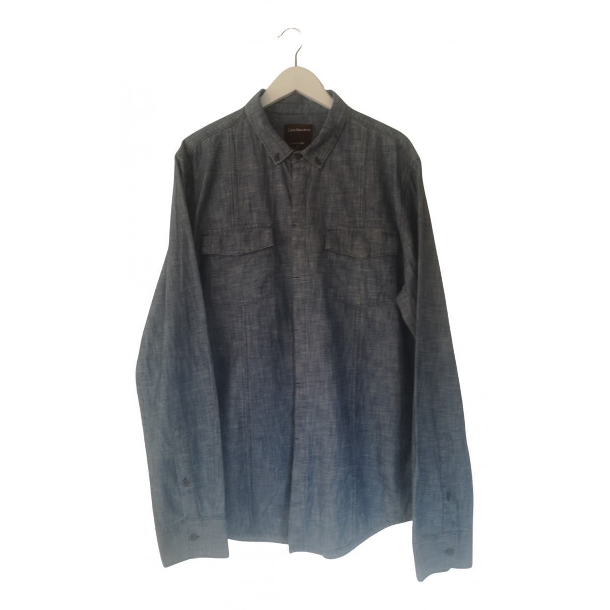 Calvin Klein - Chemises   pour homme en coton - bleu