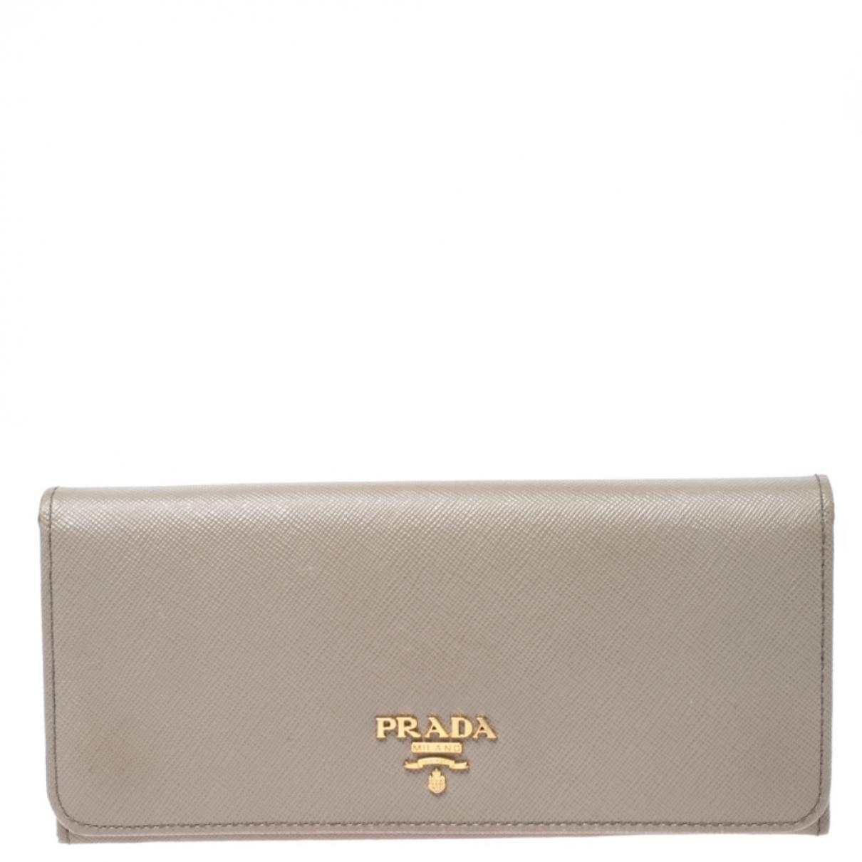 Prada - Portefeuille   pour femme en cuir - gris