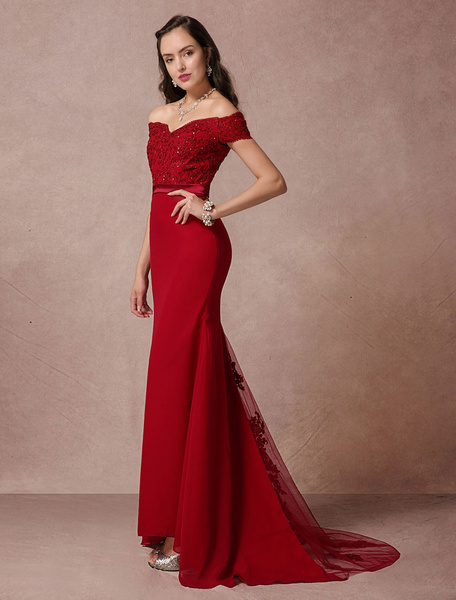 Milanoo Red Prom Dresses 2020 Long Off The Shoulder Prom Dress Mermaid Backless Evening Dress fishtail Lace Beading Court Train Red Carpet Dress weddi