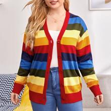 Cardigan con boton de rayas de color combinado
