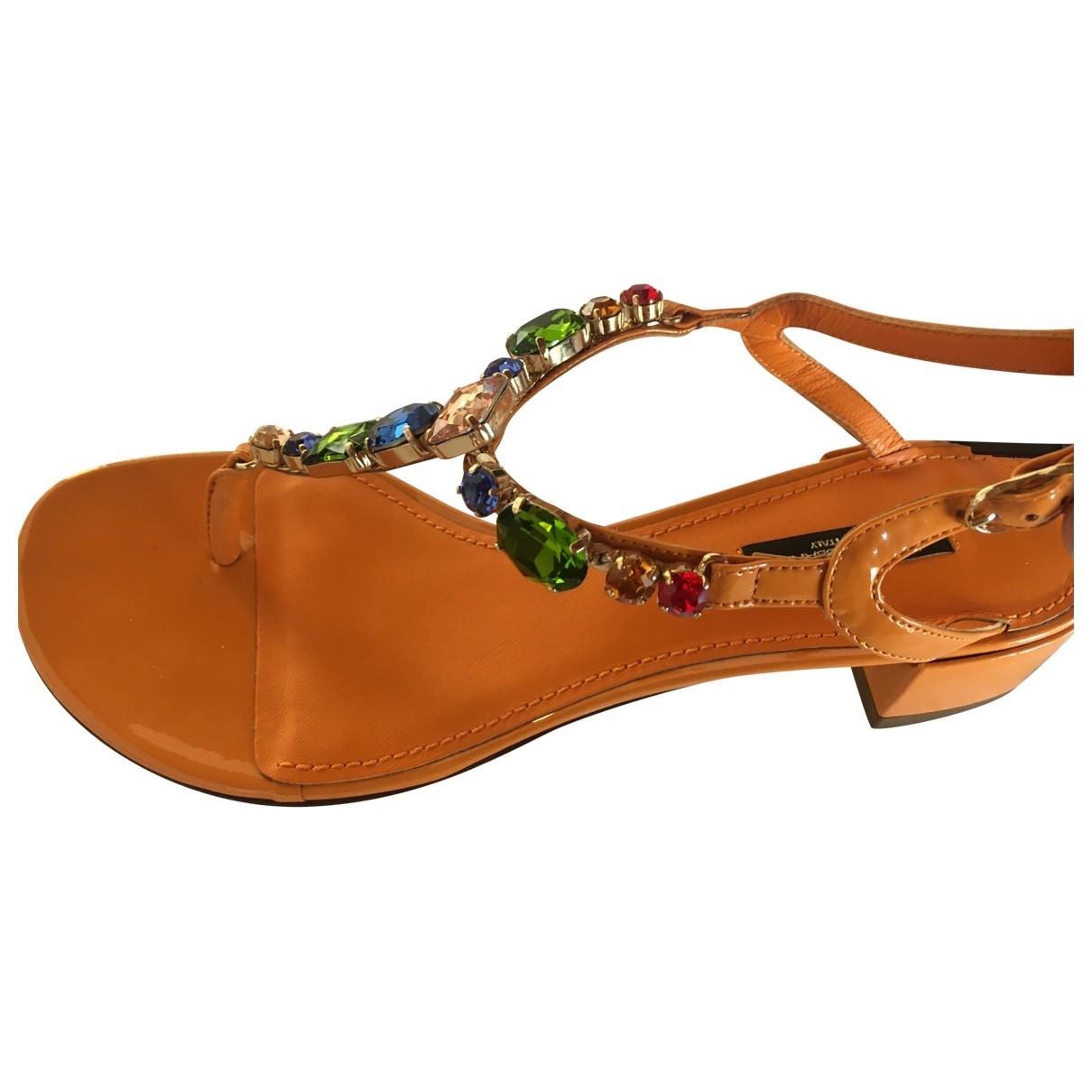Dolce & Gabbana - Sandales   pour femme en a paillettes - orange