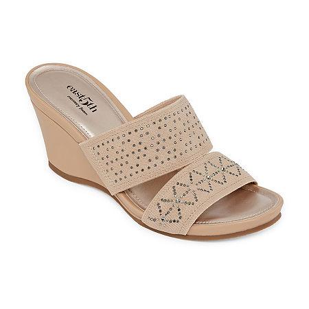 east 5th Womens Vane Wedge Sandals, 9 1/2 Medium, Beige