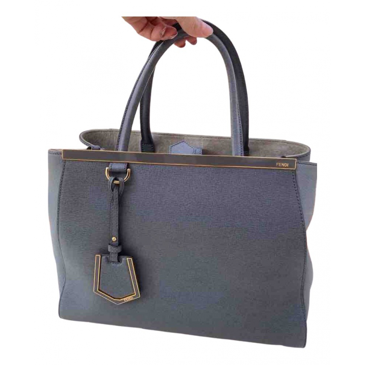 Fendi 2Jours Handtasche in  Grau Leder