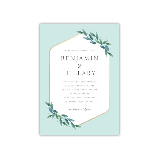 20 Pack of Style Me Pretty Personalized Polished Flora Invitation in Seafoam | 5