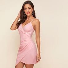 Wrap Asymmetrical Hem Slip Dress