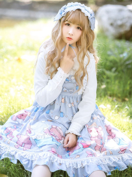Milanoo Sweet Lolita JSK Dress Bear Printed Bows Baby Blue Lolita Jumper Skirts