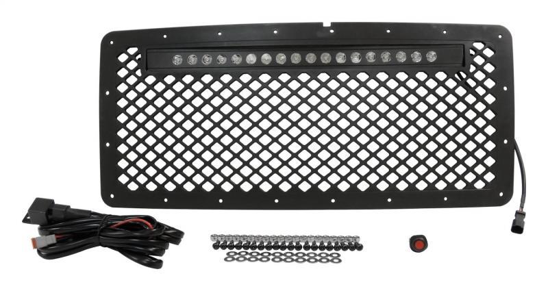 RT Offroad RT28041 Black Stainless Steel Grille w/ LED Light Bar Kit for 2007-2018 Jeep JK Wrangler Jeep Wrangler N/A 2007-2017
