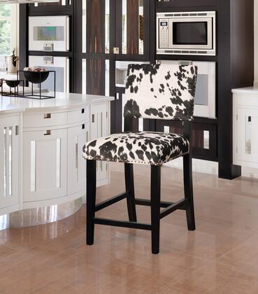 CS038COW01U Corey Collection Counter Height Stool with Traditional Style  Rubberwood Frame and Polyester Upholstery in Black Cow Print