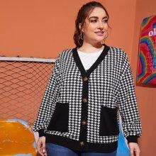 Jacke mit sehr tief angesetzter Schulterpartie, Taschen Flicken und Hahnentritt Muster