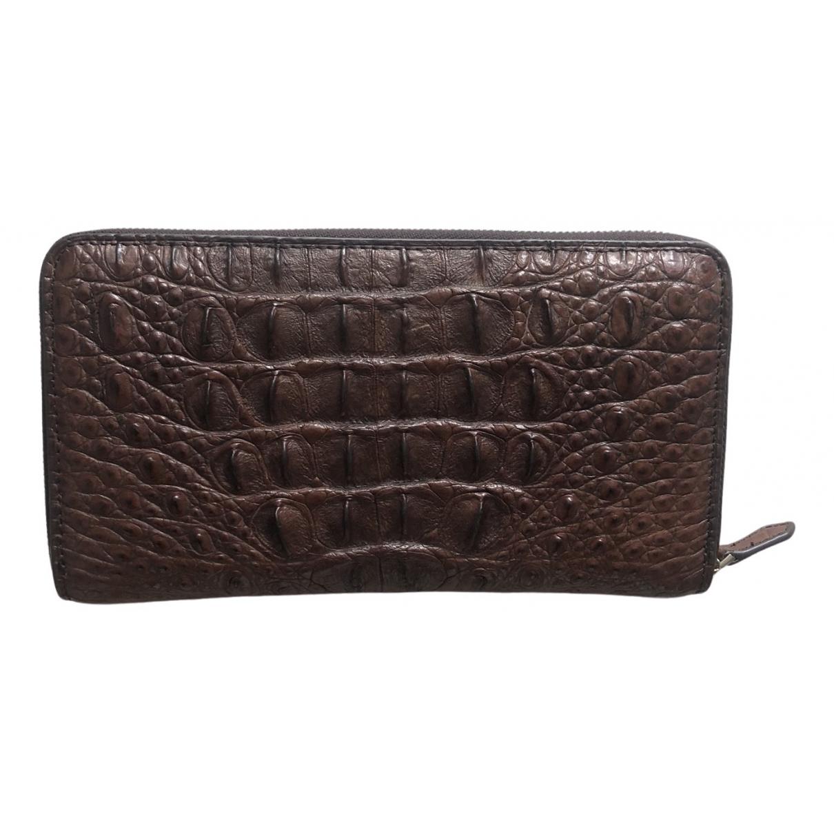 - Portefeuille   pour femme en alligator - marron