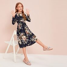 Girls Floral Print Shirred Waist Flare Dress