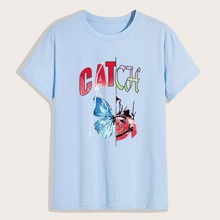 Guys Letter Butterfly Graphic Tee