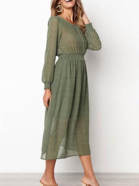 Milanoo Vestidos largos de mujer Vestido largo ajustado de manga larga con cuello joya verde