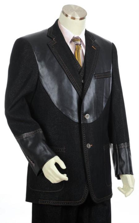 Mens Black 2Button 3pc Denim Cotton Fabric Two Tone Blazer/Suit/Tuxedo