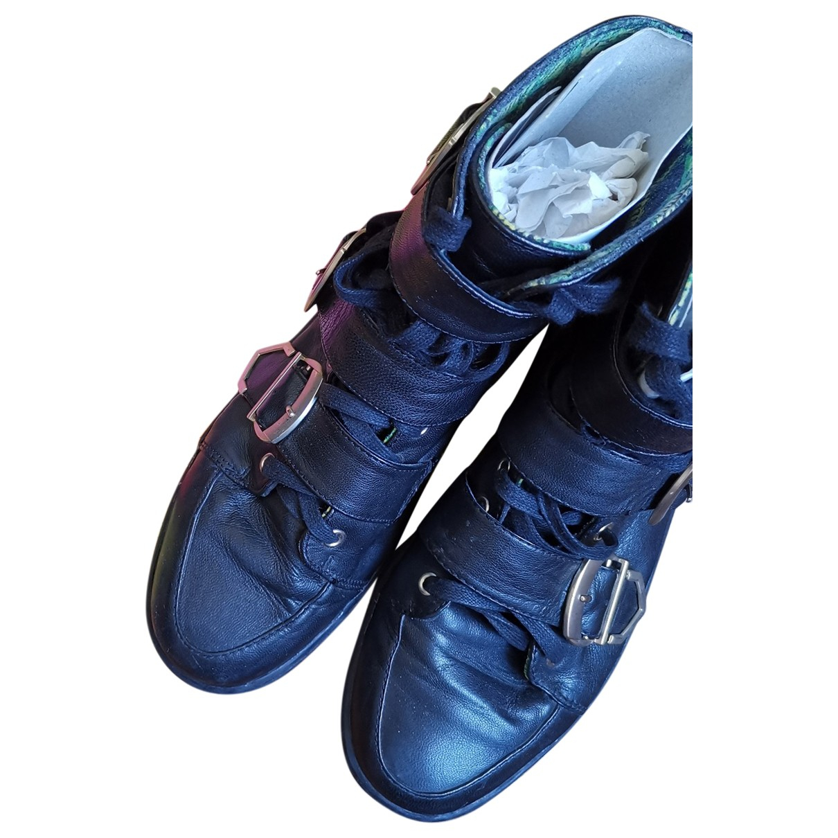 Versace X H&m \N Black Leather Trainers for Men 43 EU