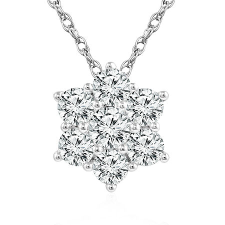 Womens 1/2 CT. T.W. Genuine Diamond 10K White Gold Pendant, One Size , No Color Family