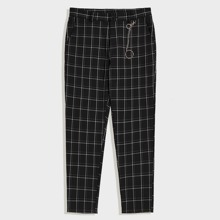 Men Slant Pocket Grid Pants With Chain