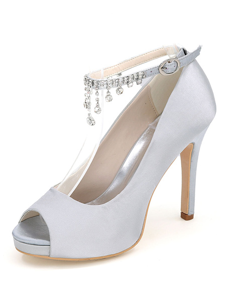 Milanoo Pink Wedding Shoes Women High Heels Satin Peep Toe Rhinestones Ankle Strap Bridal Shoes