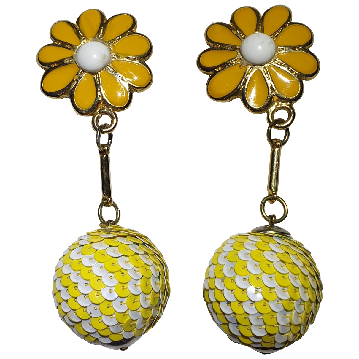 Non Signé / Unsigned Motifs Floraux Yellow Metal Earrings for Women \N