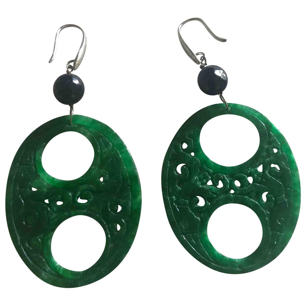 - Boucles doreilles   pour femme en jade - vert
