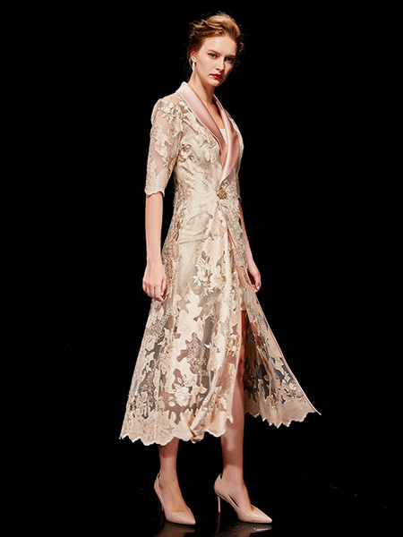 Milanoo Mother Of The Bride Outfit Two Piece Embroidered Half Sleeve Tea Length Formal Dress Wedding Guest Dress