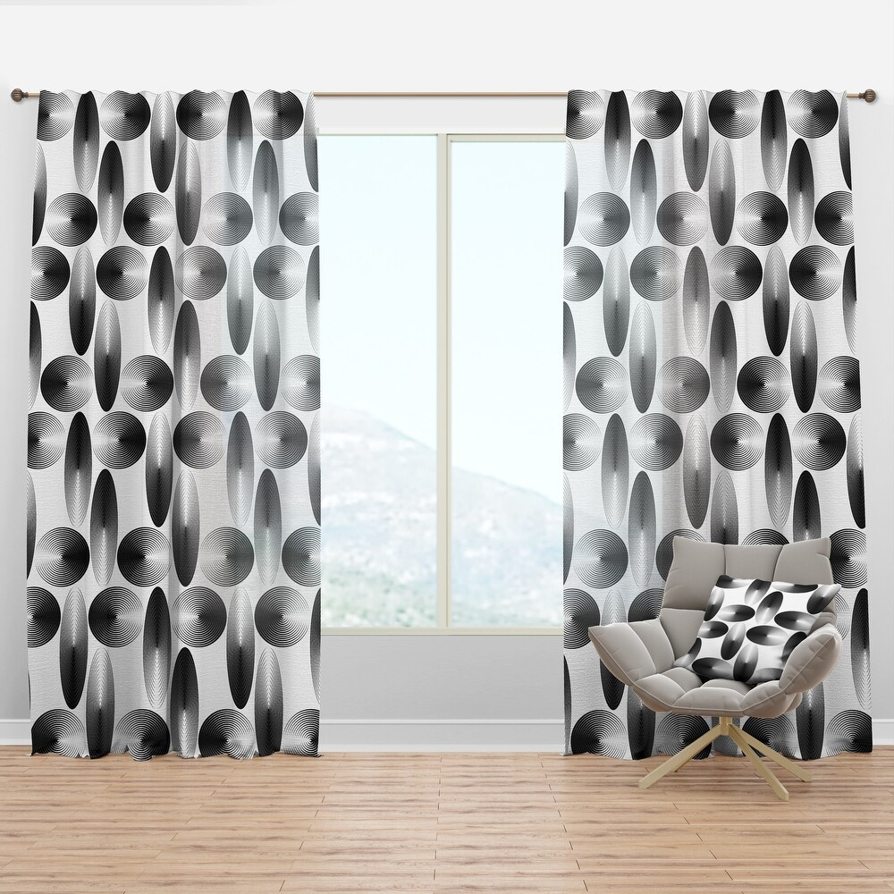 Designart 'Retro Geometrical Abstract Pattern IV' Mid-Century Modern Curtain Panel (50 in. wide x 120 in. high - 1 Panel)