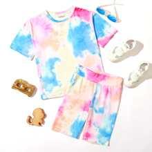 Girls Tie Dye Tee & Biker Shorts Set