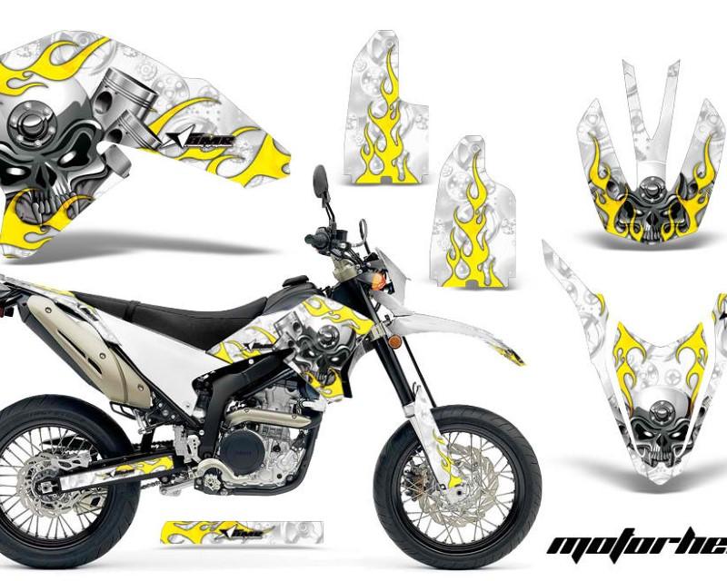 AMR Racing Dirt Bike Decal Graphics Kit Wrap For Yamaha WR250R WR250X 2007-2016áMOTORHEAD WHITE