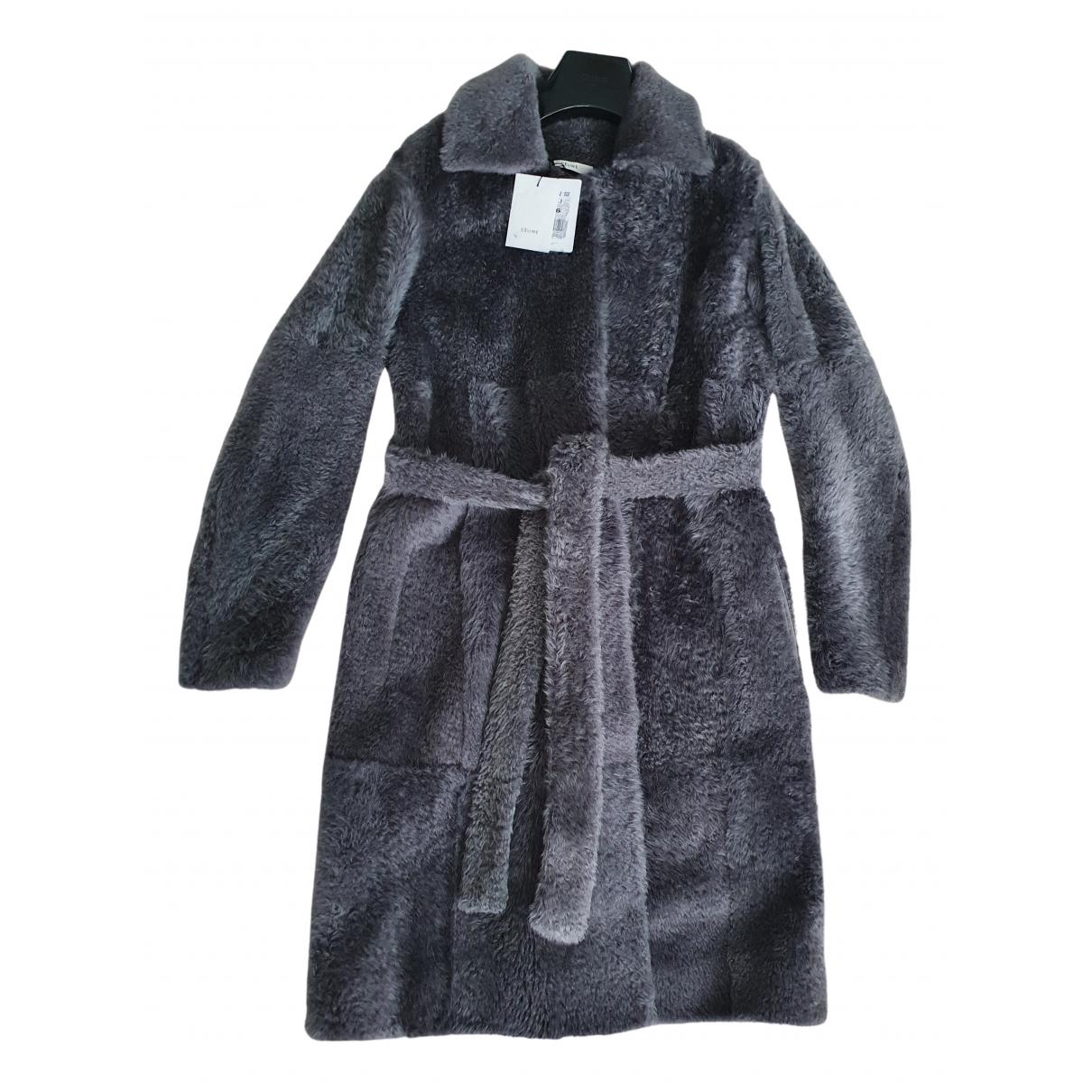 Celine - Manteau   pour femme en fourrure - gris