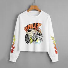 Car & Letter Graphic Sweatshirt
