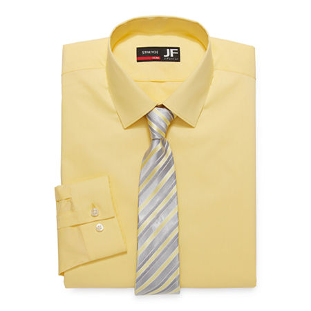 JF J.Ferrar Mens Spread Collar Long Sleeve Stretch Shirt + Tie Set Slim, 14-14.5 32-33, Yellow