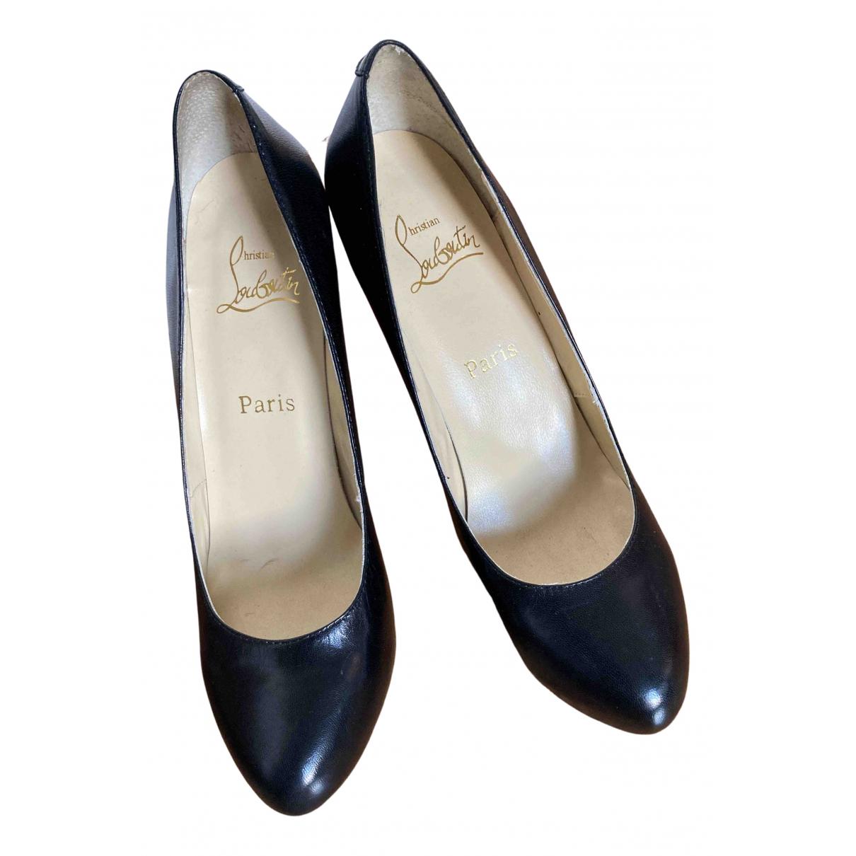 Christian Louboutin N Black Leather Heels for Women 41 EU