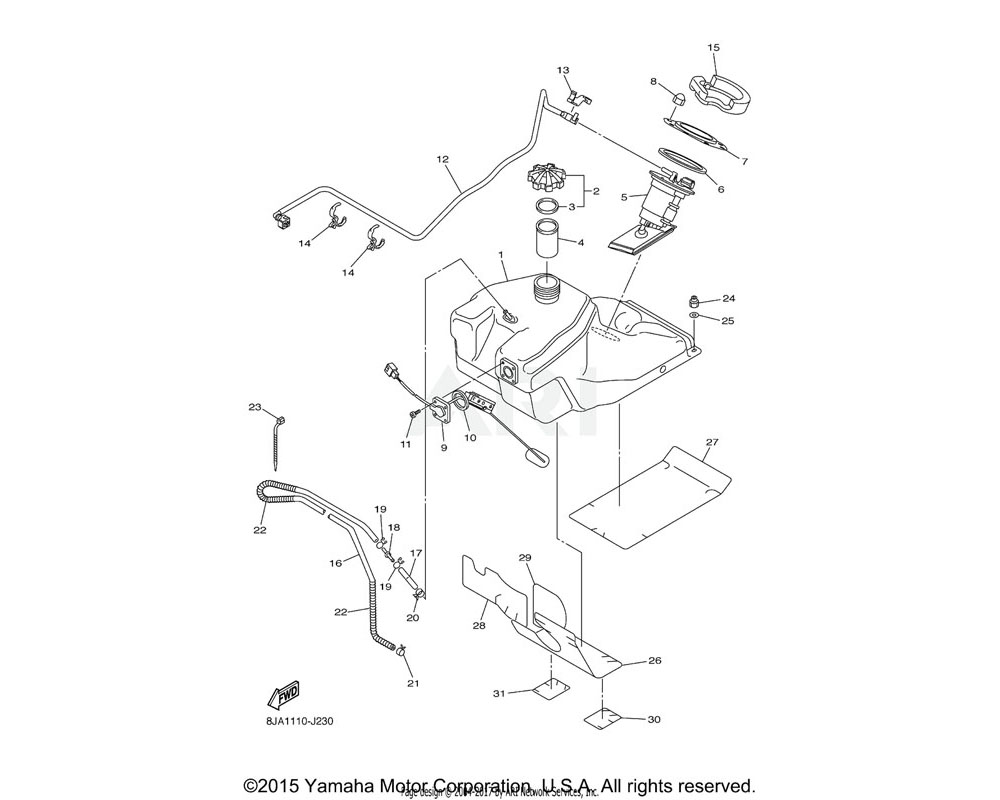 Yamaha OEM 8HF-24111-00-00 TANK, FUEL