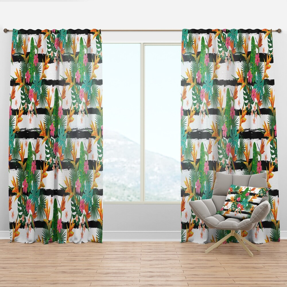 Designart 'Retro Tropical Leaves II' Mid-Century Modern Curtain Panel (50 in. wide x 108 in. high - 1 Panel)
