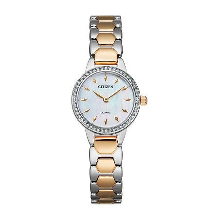 Citizen Quartz Womens Two Tone Stainless Steel Bracelet Watch-Ez7016-50d, One Size , No Color Family