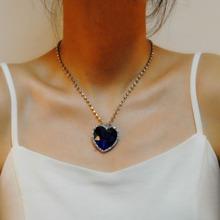 Rhinestone Decor Heart Charm Necklace
