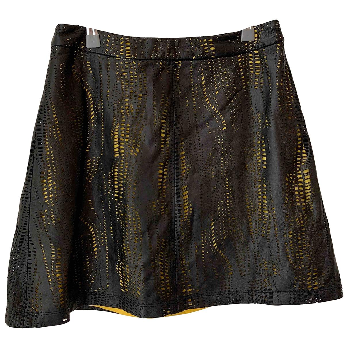 Alice & Olivia \N Black Leather skirt for Women 2 US