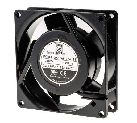 RS PRO , 230 V ac, AC Axial Fan, 92 x 92 x 26mm, 27cfm, 10W