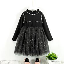 Kleid mit Strass, Netzeinsatz und Ruesche am Kragen