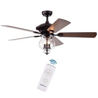 Topher 52-Inch 5-Blade Antique Bronze Lighted Ceiling Fans (Remote)