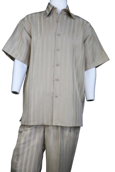 Mens Button Fastening Pocketless Short Sleeve Walking Suit