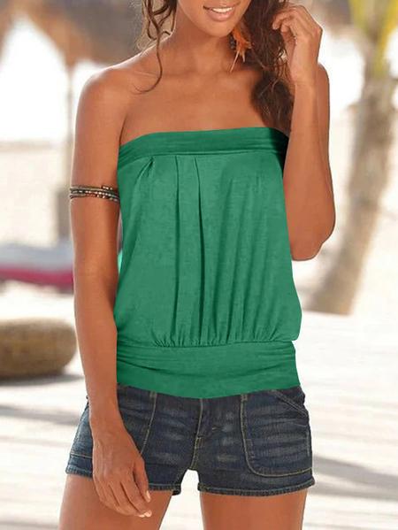 Yoins Green Pleated Design Strapless Sleeveless Cami